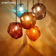 Modern glass pendant lamps Colorful Ice cube glass lampshade hanging light bar restaurants lighting fixture