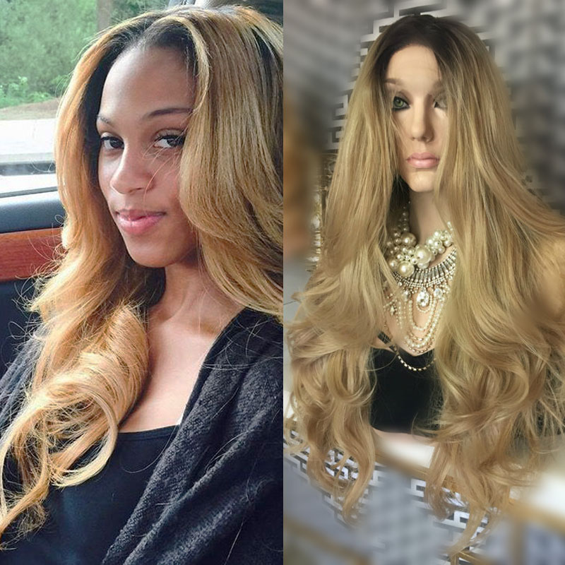 Fashion Honey blonde synthetic lace front wig heat resistant two tone glueless ombre wavy synthetic lace front wig for women<br><br>Aliexpress