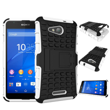 For Sony E4G Case Soft Silicone Hard Plastic Skin Case For Sony Xperia E4G Case E2003 Cell Phone Holder Stand Covers (