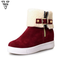 VTOTA 2017 Fashion Women Boots New Side Zipper Winter Women Snow Boots Female Ankle Boots Flat Shoes For Women Botas Mujer W34(China)