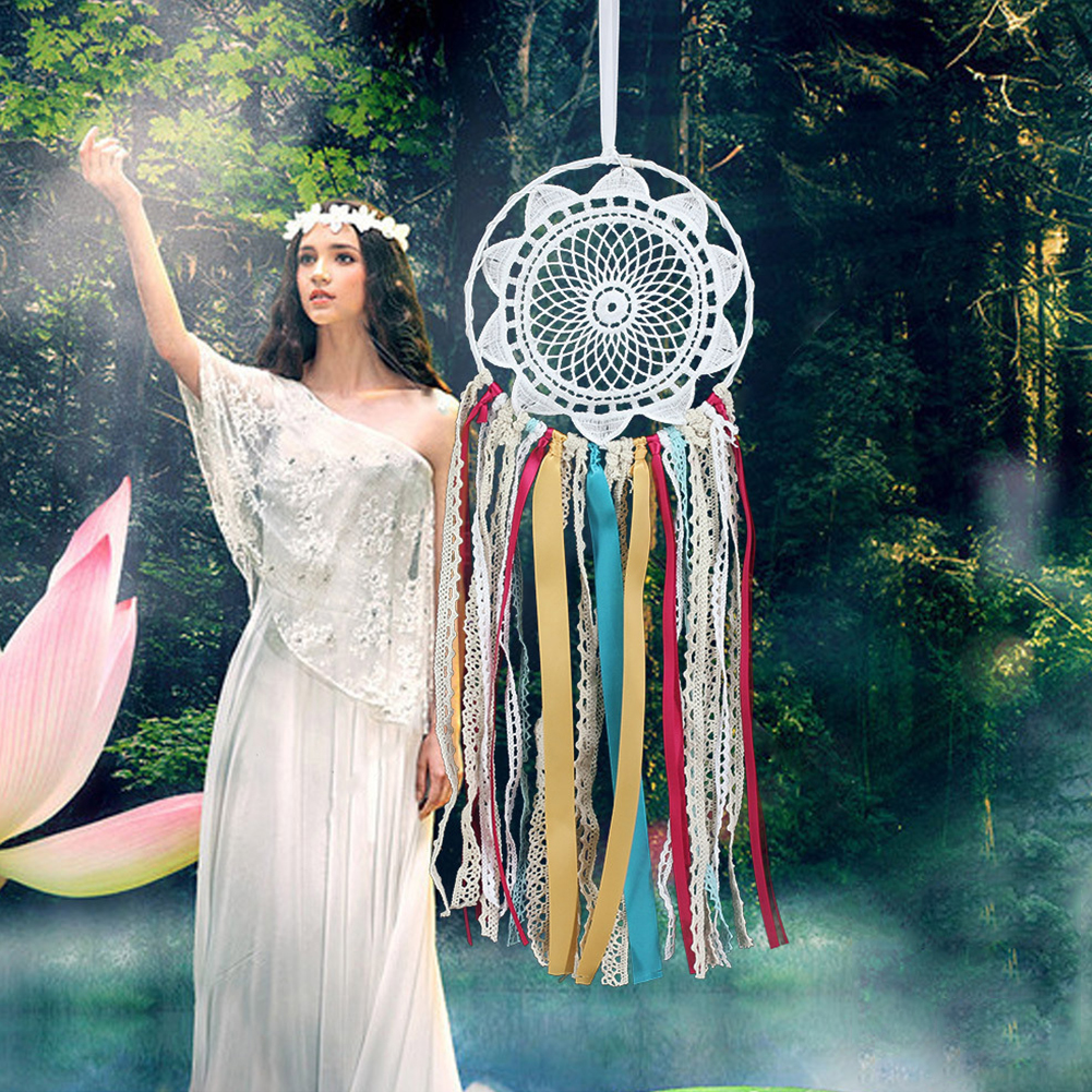 Wind Chimes Color Ribbon Dream Catcher Lace Flower Indian Style Craft Home Car Wall Hanging Decoration Accessories(China)