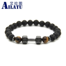 Ailatu 10 Pieces 8 mm Lava Stone Barbell Jewelry Wholesale Fitness Fashion Dumbbell Bracelet, Party and Christmas Men Gift(China)