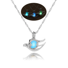 Cute Seabirds Trendy 3 Kind of Colors For Glow In The Dark Pendant Necklace Couple's Fashion Charm Choker Jewelry(China)