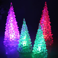 1Pc LED Battery Operated Colour Changing Night Light Desk Table Top Christmas Tree New Year Decoration Gift Festive Party Supply(China)