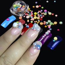 1 Box Optional Colorful Rainbow Beads Pearl Nail Rhinestones Beads DIY Gel  Polish Multi-size b5f798e1bb59