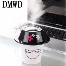 DMWD USB Mini hat air humidifier purifier creative office household vehicle muting formaldehyde removal dust belt