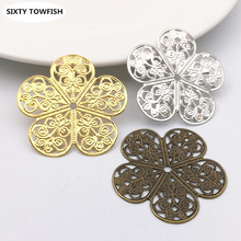 20 pcs/lot 36mm 3Colors Metal Filigree Cross Flowers Slice Charms base Setting Jewelry DIY Components Findings(China)
