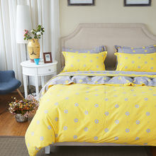 Small flowers print yellow bedding set soft thick sanding cotton linens Queen King size duvet cover set