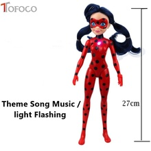 TOFOCO New Tales of Ladybug & Cat Noir Model Toy Theme Song Music light Miraculous Ladybug Action Figures Toy Doll Lady Bug