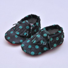 leopard print Horse hair Leather Baby shoes Baby Moccasins Fringe First Walkers Bebe Soft bottom newborn shoes(China)