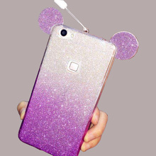 3D Cartoon Ears Gradient Phone Case For Huawei P8 P9 Lite P8Lite P9Lite Cover Bling Glitter Powder Soft TPU Casing Fundas Coque