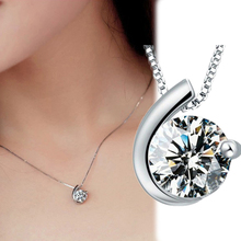 Trendy Moon Bay Shaped Rhinestone Inlaid Silver Plated Pendant Necklace Without Cahin Jewelry Accessories NL-0581