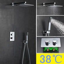 "Buy Rainfall brass Thermostatic Shower Set brass hand shower SUS304 10"" Shower Head Mist Spray SPA Embedded Box Concealed IS079 for $184.95 in AliExpress store"