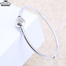 Genuine 925 Sterling Silver Bracelet Snake Chain Crystal Basic Bracelets Fit Women Bead Charm With Logo DIY FREE SHIPPING