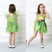 Children Girl's Deluxe Green Tinkerbell Fairy Costume Tinker Bell Princess Fancy Dress Halloween Cosplay Clothing