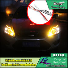 Car-styling Headlight Head Lamp LED Eyebrow Daytime Running Light Brow DRL With Yellow Turnning Light For Ford Focus 2 2009-2014