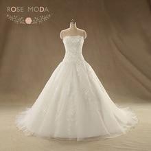 Роза Moda Кружево бальное платье без бретелек заниженной талией свадебное платье плюс Размеры реальные фотографии(China)