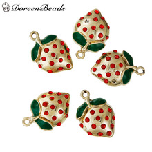 DoreenBeads Zinc Alloy Fruit Charms Pendants Gold color Strawberries Red Rhinestone Green Enamel 24mm x 16mm, Hole: 2mm 3 PCs