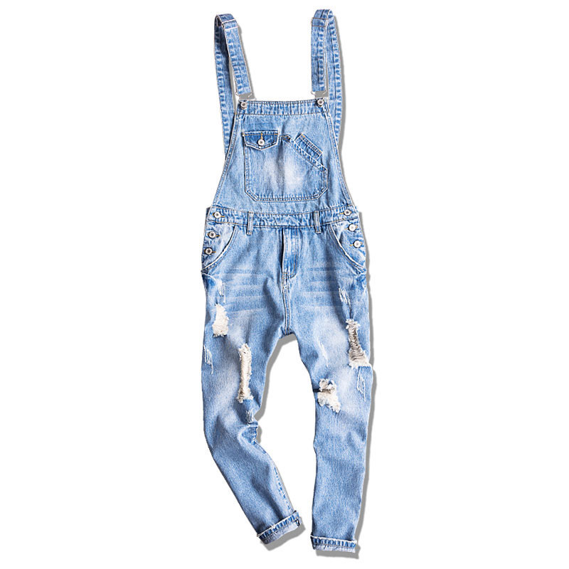 Men's casual Loose Work Clothes Extra Large 5XL Denim Overalls huge pants piece Denim jumper pants Hole Nine pants suspenders