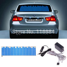 90x10cm Car Sticker Music Rhythm Blue LED Flash Light Sound Activated Equalizer