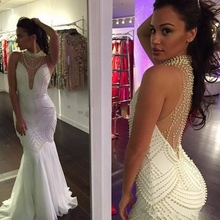 High Neck Mermaid Evening Dress 2017 New Hot Vestido De Festa Sexy White Illusion Pearls Long Wedding Party Formal Evening Gown