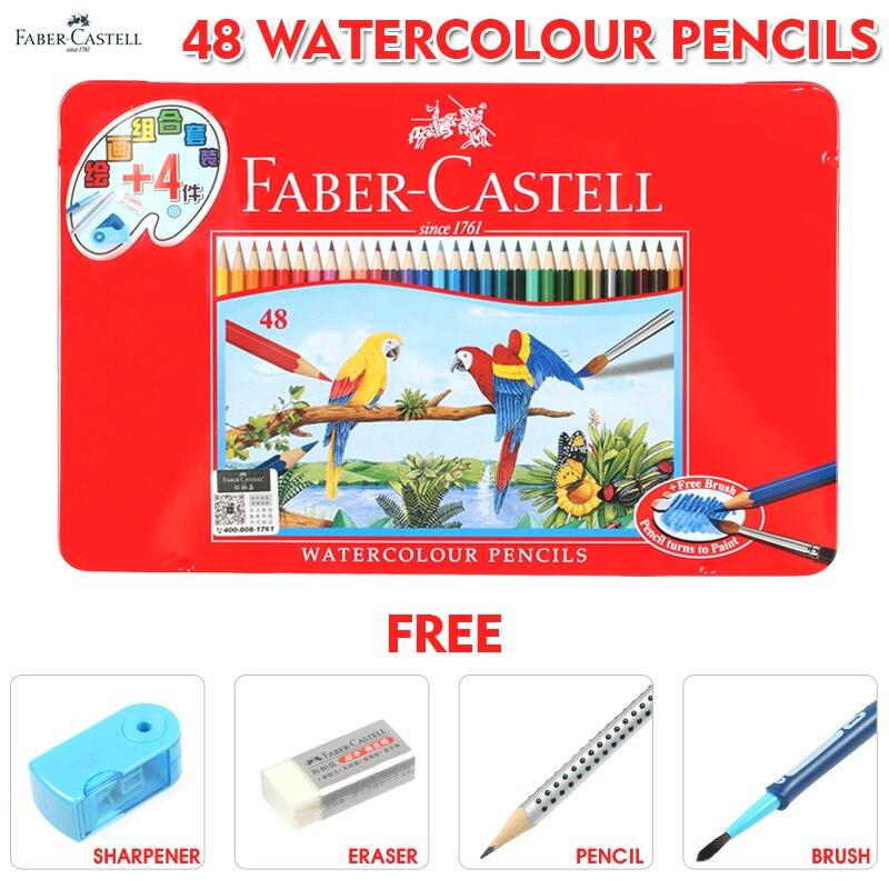 Faber Castell 48 Colored Pencils Lapis De Cor Professionals Artist Painting Metal Box Watercolor Pencil for Drawing Sketch<br>