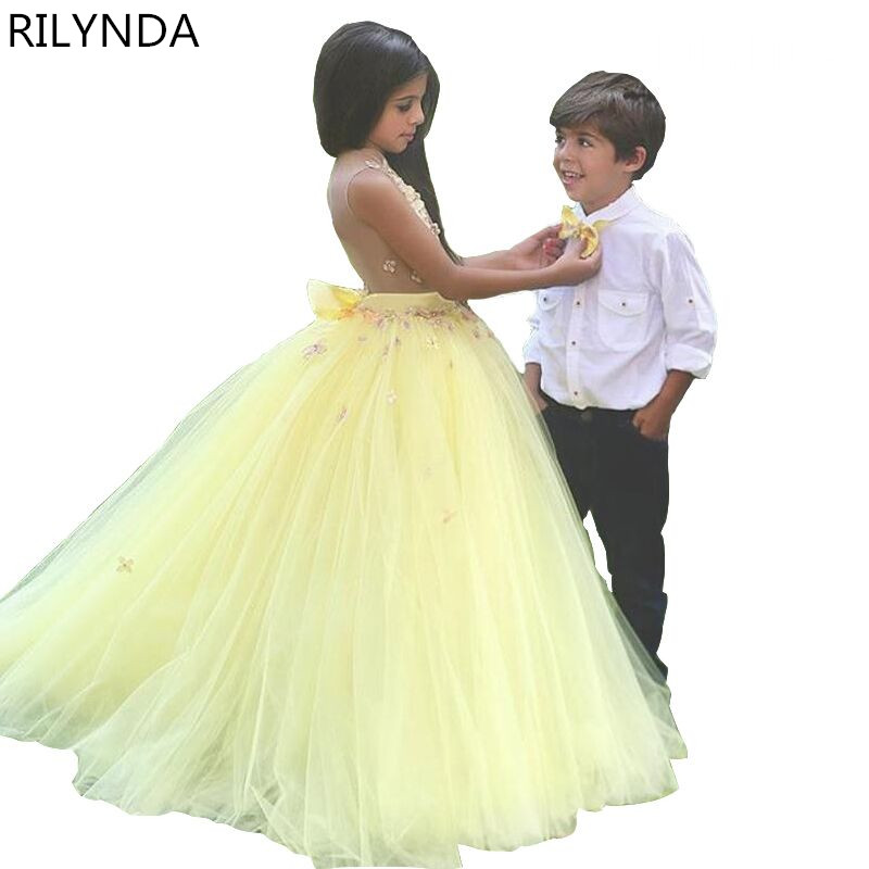 Yellow Flower Girl Dresses  Ball Gown See Though V Neck Long Girls Pageant Dress Floral Appliques Little Girl Prom Dress<br><br>Aliexpress