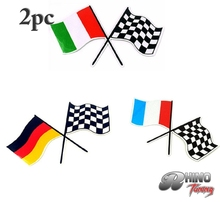 2PC Italy Germany France Flag Racing Flag Car Sticker Badge Auto Boot Trunk Fit Panda Golf Clio TV 20453