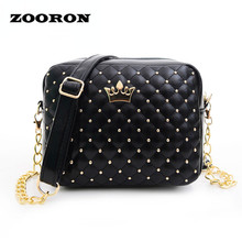 ZOORON 2017 new style fashion women bag five color madame chain shoulder tide rivet small shopping shoulder bag(China)