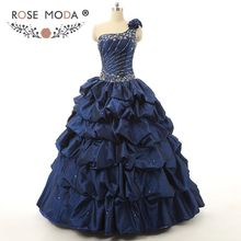 Real Photo High Quality One Shoulder Navy Quinceanera Dress Ball Skirt Crystal Beaded Corset Formal Party Dress(China)