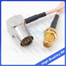 RF connector TV female jack right angle to RP-SMA female with 8'' 20cm 8in RG316 RG-316 RF Coaxial Pigtail Jumper Low Loss cable