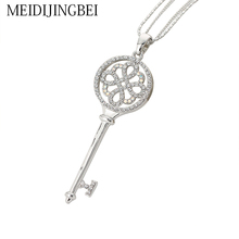 MEIDIJINGBEI Long Necklaces Key Luxury Silver Plated Jewelry Crystal Chain Pendant Necklace Long silver pendant necklace
