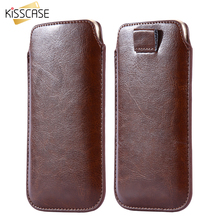 KISSCASE Universal Pull Tab Sleeve Pouch Case For iPhone 6 7 Leather Case For Samsung S8 Xiaomi Redmi 4 Pro Mi5 4C Huawei Honor