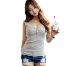 Buy Sexy Deep V-Neck Tshirt 2017 New Women T Shirt Summer Tops Femme Slim Sleeveless Button Cotton T-Shirt Womens Clothing S5083 for $11.99 in AliExpress store