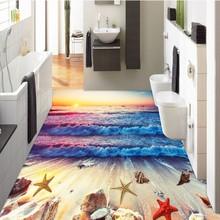 beibehang sunset beach waves starfish nonslip waterproof sticker paint bathroom wallpaper