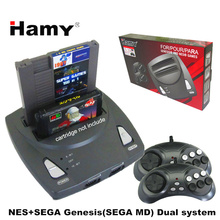 HAMY Top quality NES+SEGA Genesis/MD compact 2in1dual system game console / cartridge rom support original game card(China)