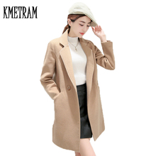 2017 Fashion Girl Medium Long Wool Coat Female Clothing Turn-down Collar Winter Jacket Women Woolen Coat Casaco Feminino WUJ1026(China)