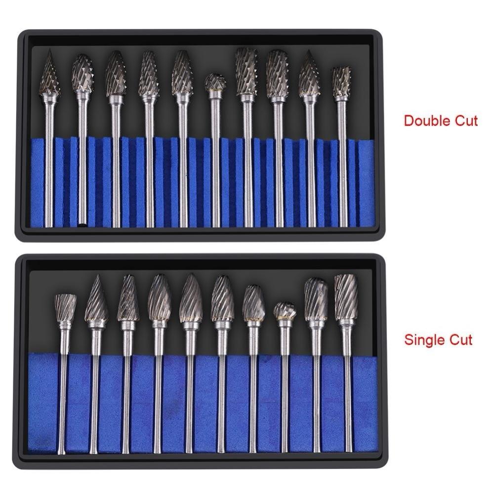 "10pcs 1//8/"" Shank Double Cut Tungsten Carbide Rotary Files Diamond Burrs Set"