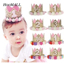 Hoomall Baby Kids First Birthday Party Headband Newborn Crown Flower Tiara Headwear Hair Bands Party Decoration Accessories Gift(China)