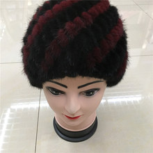 2016 new real women winter rex mink fur hat and fox fur and knitting wool lined with a variety of color selection packages 012 d