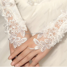 White Bridal Glove Wedding Gloves Lace No finger Wedding Satin Lace Beads Fingerless Bridal Gloves Fast Shipping Cheap