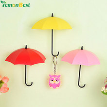 3pcs/lot Umbrella Shaped Creative Key Hanger Rack Home Decorative Holder Wall Hook For Kitchen Organizer Bathroom Accessories(China)