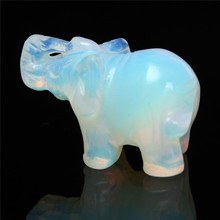 Fashion Exquisite Party Birthday Moonstone Hand Carved Elephant Gemstone Festival Holiday Home Office Desk Decoration Gift(China)