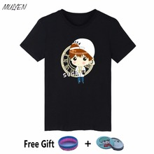 MULYEN Summer T Shirt Women BTS Kpop Member Cartoon Images Print  Short Sleeve Bangtan Boys Album Cotton Tshirt Plus Size