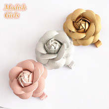 Artificial Leather Flower Design Gold Hair Accessories Kids Barrettes  Famous Pink Rose Floral Hair Clips PU 7db0f2db5491