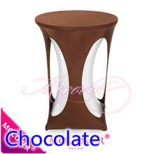 Chocolate colour lycra high bar table cloth spandex table top cover for wedding banquet and party cocktail table decoration