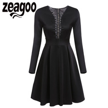 Zeagoo Sexy Lace Up Dress Fashion V-Neck Long Sleeve Print Cocktail Party Skater Dress Autumn High Waist Sheath Swing Dress XXL(China)