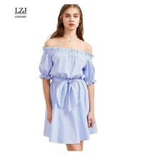 LZJ Women's Sexy sleeveless Blue Striped Striped Dresses Women's Summer Clothing 2017 New Women's Clothing vestidos plus size