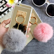 Luxury Case For Samsung S3 S4 S5 Note 3 4 J7 A8 A5 S7 Soft Plush Real Rabbit fur pompom Fluffy Golden Mirror Phone case TPU case()
