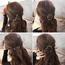 Women's Simple Elegant Metal Geometric Round Triangle Moon Hairpin Hair Clip(China)